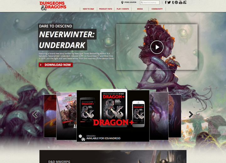 Dungeons and Dragons - homepage animated graphics, carousel banners, inline banner graphics.